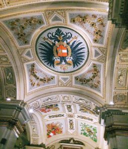 A ceiling at the Kunsthistorisches museum, an art museum in Vienna.