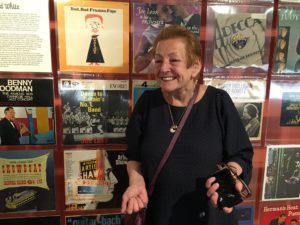 Jennifer Jankel from the Jewish Music Institute, daughter of British dance music legend Joe Loss, in front of records of her father
