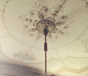 A decorated ceiling in the villa.