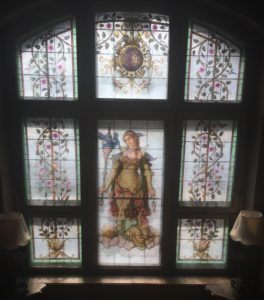 A stained glass window in the villa.