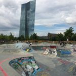 The skater park—and the ups and down of the EURO in the back